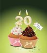 Cupcake mit Geburtstagskerze die Zahl 20