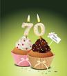 Cupcake mit Geburtstagskerze die Zahl 70