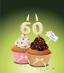 Cupcake mit Geburtstagskerze die Zahl 60