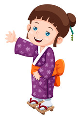 illustration of Cute little japanese girl Vector