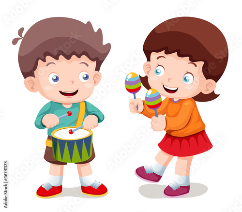 illustration of Boy and girl music