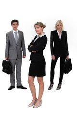 Young executives in different positions