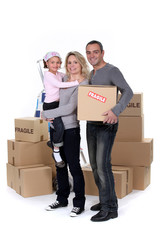 Portrait of a family on moving day