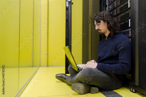 Computer Technician working in datacenter