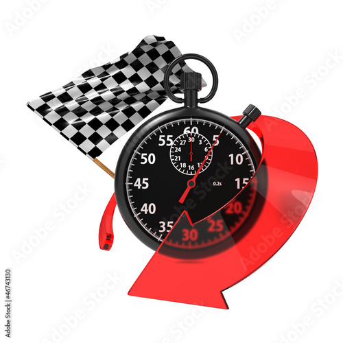 Checkered Flag with Stopwatch and Arrow.