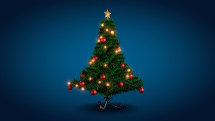 Rotating Christmas tree over blue background