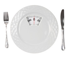 Posiłek diety. Płytka ze skalą wagi
