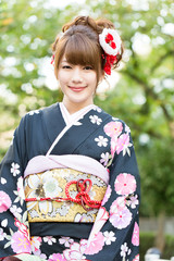 Beautiful japanese kimono woman