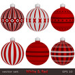 Red Christmas Balls on white background, vector set