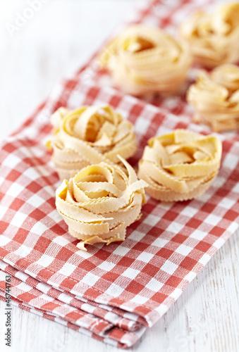 Italian egg pasta on kitchen towel