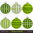 Green Christmas Balls on white background, vector set