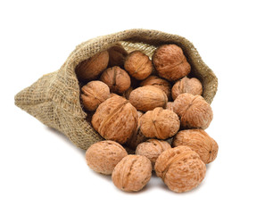 Walnuts in a bag on a white background