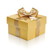 canvas print picture - Golden gift box with golden ribbon over white