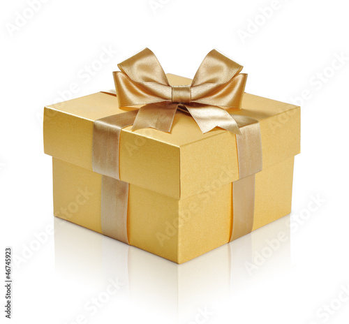 Golden gift box with golden ribbon over white