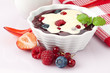 danish berry fruit dessert with vanilla topping