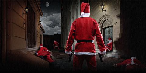Santa Clause in the terrific dark alley