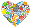 Sports symbols in the form of heart