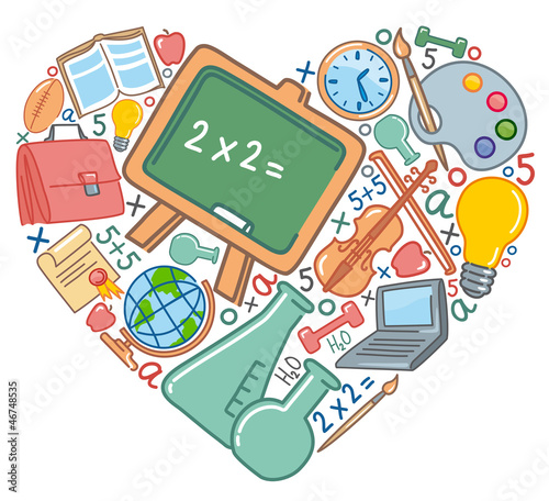 School symbols in the form of heart