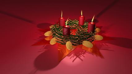 Adventskranz mit brennende Kerzen