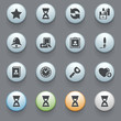 Icons for web with color buttons on gray background. Set 3.