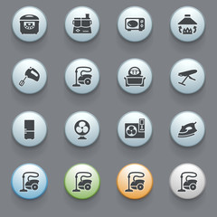 Home appliances icons with color buttons on gray background. Set
