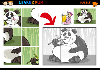 Cartoon panda bear puzzle game