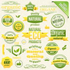 Vector Organic Food, Eco, Bio Labels and Elements