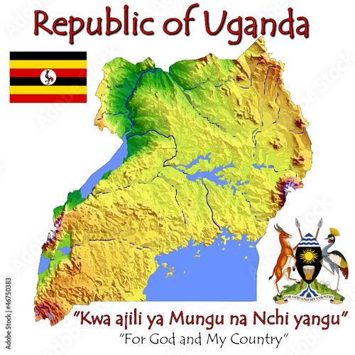 Uganda Africa national emblem map symbol motto