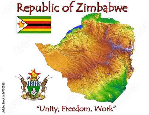 Zimbabwe Africa national emblem map symbol motto
