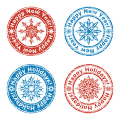 vector illustration of set of grunge happy new year stamps