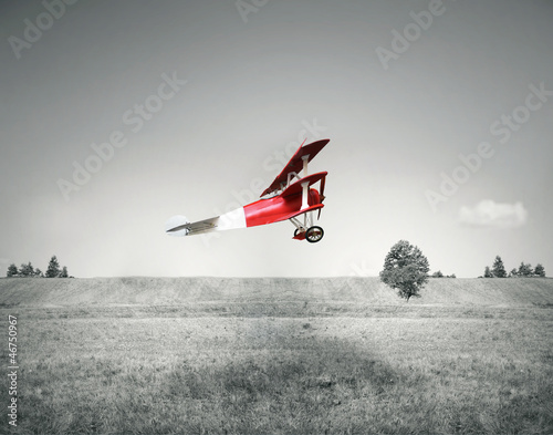 Red vintage airplane - 46750967