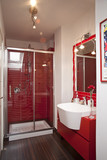 Little modern red bathroom