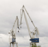 Two cranes in a shipyard