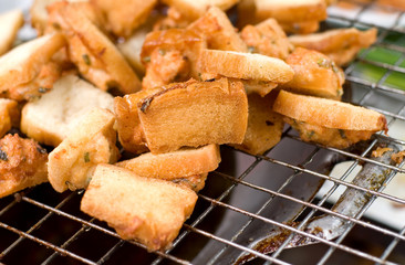 fried  bread on the grill
