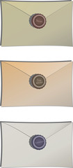 Envelopes with sealing wax (secret, top secret, confidential)