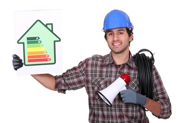 Electrician stood with energy efficiency poster and megaphone