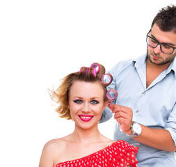 Professional male hairdresser, studio shot