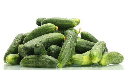 Fresh cucumbers isolated on white