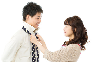 Asian sweet young couple smiling together