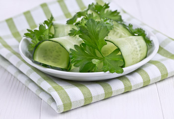 salad of cucumbers and green