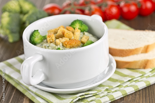 thick vegetable soup with broccoli