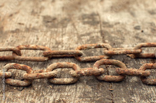 Rusty chain and weathered wood background