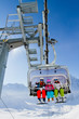 Ski, skiing, winter - skiers on ski lift