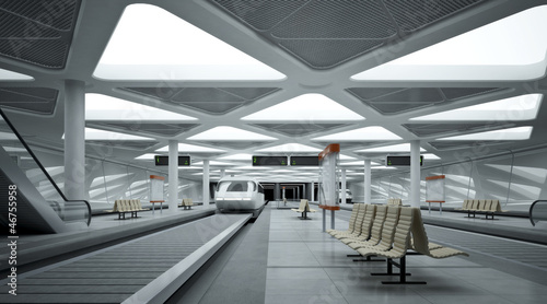 Leinwanddruck Bild U-Bahnhof futuristisch
