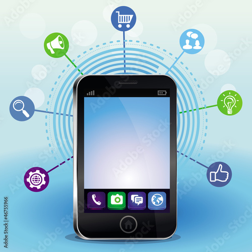 mobile phone with touchscreen and icons