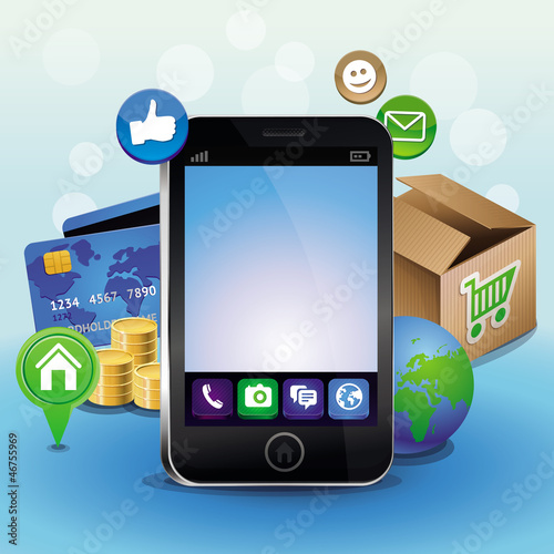 Vector mobile phone and icons