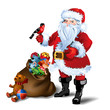 Vector Illustration of Santa Claus with sack full of gifts