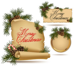 Set of Christmas vintage scrolls and stickers