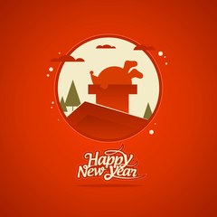 New Year card with Santa Claus stuck in a chimney.