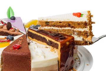 Piece of layer cake with nuts